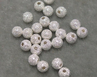 2 Dozen 4mm Silver Plated  Stardust Sparkle Spacer Bead Findings (593)