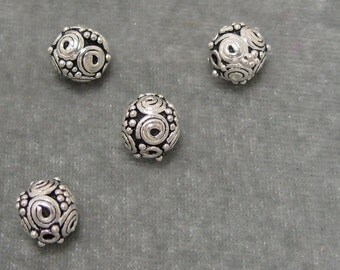 4 Sterling Silver Bali Beads 8mm Findings (562)