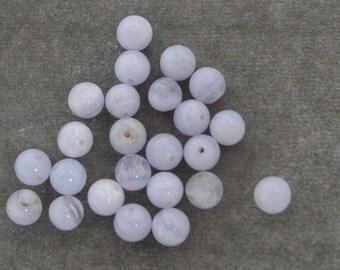 2 Dozen 6mm Natural Blue Lace Agate Gemstones (183)