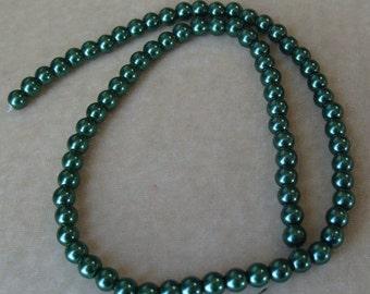 Full Strand of 6mm Dark Green Glass Pearls (322)