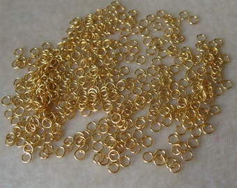 400 4mm Gold Plated 20 Gauge Jump Rings Findings  (645)