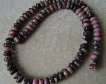Full Strand of 8mm Rhodonite Rondelle Gemstones (259)