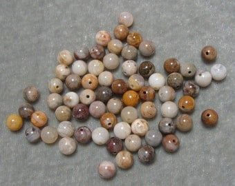 Full Strand of 6mm Round Bamboo Agate Gemstones (190)
