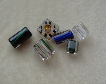 6 Misc Cane Glass Beads (115)