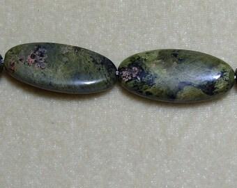 4 34mm x15mm Long Oval Rhyolite Gemstones (203)