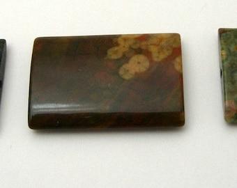 3 35mm x 24mm Flat Rectangle Rhyolite Gemstones (200)