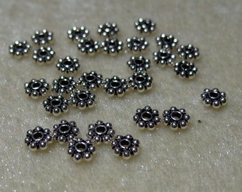 30 Sterling Silver 5mm X 1.5mm  Round Bali Beads Findings (550)