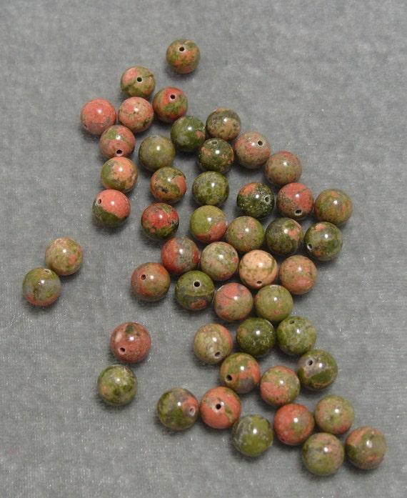 Full Strand 8mm Round Unakite Gemstones (141)