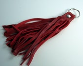 The Tassel Keychain Fob in Red Leather