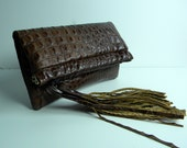 The Foldover Banker Clutch in Italian Crocodile Embossed Leather - Ready to Ship