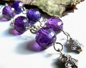 Amethyst Sterling Silver Stars Earrings, Micro Faceted Amethyst Rounds, Purple, Antiqued Silver