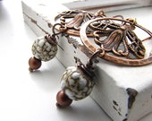 Ceramic Copper Earrings, Elaine Ray beads Copper filigree, Hammered, featured in Belle Armoire Jewelry, Rustic