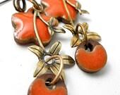 Elaine's Orange and Flower Earrings