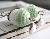 CIJ Free Shipping/Gift Mint Green Earrings, Vintage Lucite and Vintage German Glass, Sterling Silver, Vintage Swarovski