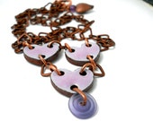 Purple Chained Hearts Valentine Necklace, Copper, Elaine Ray Ceramic Hearts, Periwinkle Lampwork Swirl Glass