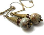 Rustic Brass Cone Earrings, Elaine Ray tiny Ceramic Beads, Copper Bobbins, Antiqued Brass Cones and Delicate Chain