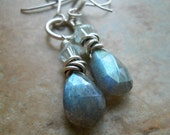 Blue Rain Earrings, Ocean Blue Labradorite, Swarovski and Sterling