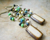 SALE Ceramic & Glass Earrings, Elaine Ray Ceramic Multi Colored Glass Antiqued Brass Rings Rustic Jewelry, Boho, Circles