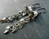 Fringe Earrings, Silver Fringe Chain, Silver Toned Flower Petal Caps, and Swirled Pewter Bead Caps