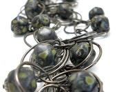 Moss Green and Black Necklace, Czech Glass Mottled Beads, Gunmetal Circles Chain