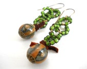 Ceramic Glass Earrings, Elaine Ray Ceramic, Spring Green Antiqued Brass, Suede Lace, Rustic, Western, Boho Jewelry