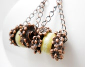 Ceramic Copper Earrings, Elaine Ray Wheel Beads, Fern, Copper Embellished Rings, Floral, Rustic Bridal Fashion