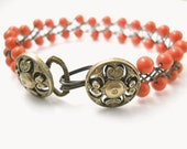 Beaded Pearl Glass Wire Bracelet, Coral, Ant. Brass Floral Button Braided Bracelet, Wire Wrapped Bridesmaid Wedding