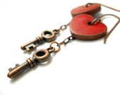 Apple Red earrings Skeleton key Dangles heart jewelry rustic earrings Elaine Ray ceramic and copper jewelry