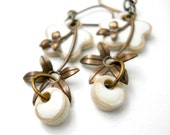 White Flower Ceramic Earrings, Elaine Ray Beads, Brass Flower Drops, Bridal Fashion, Floral Jewelry, Rustic Wedding