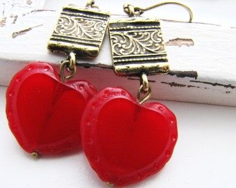Red Hearts Earrings, Vintage Red Glass Hearts and Brass Etched Charms, Vintage Fashion, Valentine Jewelry, Rustic