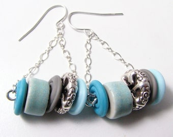 Sterling Silver Swing Earrings, Lampwork glass discs, Sterling silver Wheels, Elaine Ray Ceramics