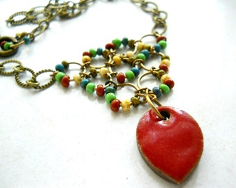 Red Ceramic Necklace, Rustic Elaine Ray Ceramic Brick Red Oval, Multi Colored Czech Glass , Antiqued Brass