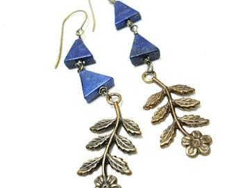 SALE Geometric Gemstone Brass Denim Blue Earrings, Floral Brass Dangles, Lapis Triangles, Rustic, Boho, Woodland Jewelry