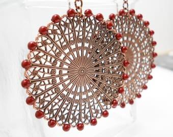 Bordeaux Pearl Copper Filigree Earrings, Pearl Filigree Wheels Earrings, Bordeaux, Cranberry, Antiqued Copper