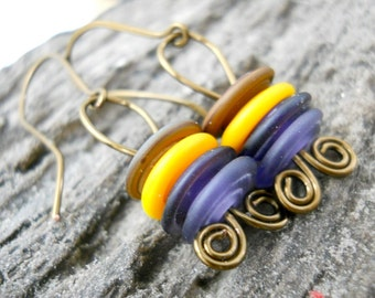Glass Lampwork Brass Earrings, Swirled Matte Lampwork Discs, Coiled Antiqued Brass, Rustic Earrings, Spring Fashion