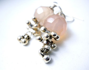 Pink Gemstone Sterling Silver Bells Earrings, Chalcydony, Sterling Jewelry, Bridal, Pastel Fashion, Mystic Pink