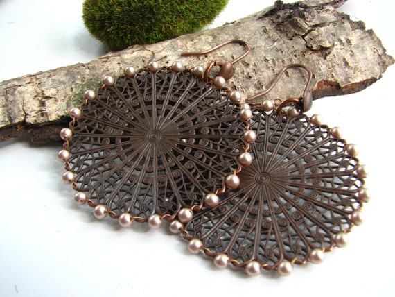 Cyber Monday Etsy 20% COUPON SALE Copper Earrings, Pearl Filigree Wheels Earrings, Pale Pink