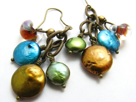 Pearl and Brass Dangle Earrings, Trio of Green, Blue, Gold Pearl, Lampwork Glass, Antiqued Brass, Boho Fashion, Dangle Earrings