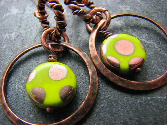 Copper Earrings, Hammered Copper, Chartruese, Circles and Dots Czech Glass