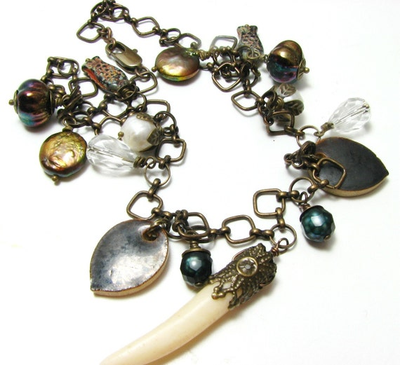 Boho Necklace, Horn, Brass, Clay, Glass, Crystal and Pearls