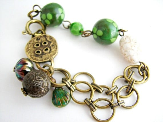 Green Whisper Bracelet, Polymer Clay Czech Glass and Antiqued Brass, Rustic Jewelry