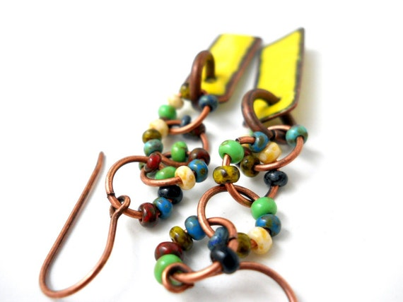 Enameled Earrings, Canary Yellow Enameled Copper, Multi Colored Glass Copper Rings, Industrial, Rustic Boho Jewelry