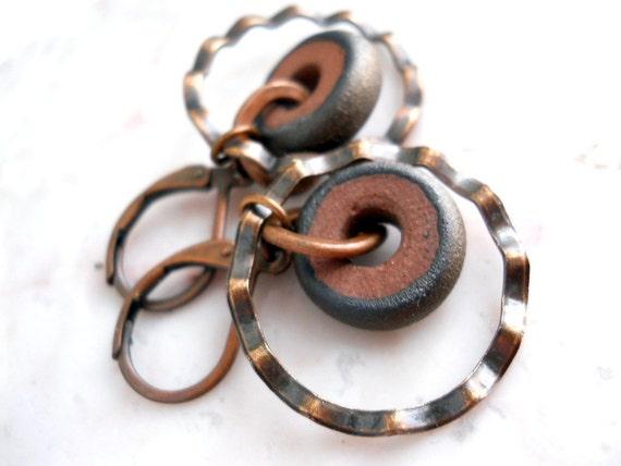 Ceramic and Copper Earrings, Wavy Copper Circles, Elaine Ray Bronze Ceramic Wheels, Rustic Jewelry, Boho, Bridal