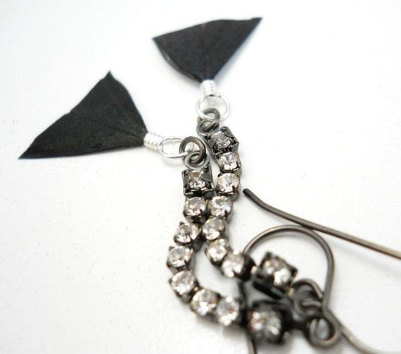 Feathered Rhinestone Dangle Earrings, Black Iridescent Feathers, Crystal Rhinestone, Gunmetal, Boho Chic Jewelry