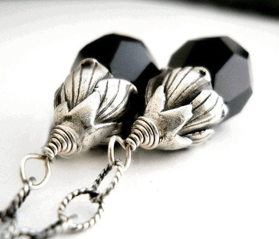 Sterling Silver Earrings, Black Crystal Faceted Drops, Sterling Petal Flower Caps and Etched chain
