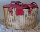 Vintage faux red leather and straw purse