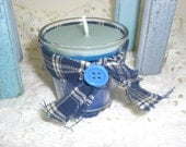 Primitive Candle, Vanilla, Peppermint Scent, Royal Blue, Small Candle, Country Decor, Button, Blue Plaid, Country Ribbon