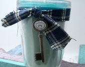 Candle, Vanilla Mint, Blue Candle, Jelly Jar Container, Country Ribbon, Key Charm