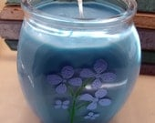 Blue Candle, Soy Wax, Violets, Floral, Powder Scent,Large Container Candle