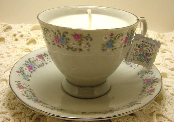 Candle, Tea Cup Candle, Shabby Chic Inspired, Tiny Rose Cup and Saucer, White Tea and Ginger Scent, White Candle